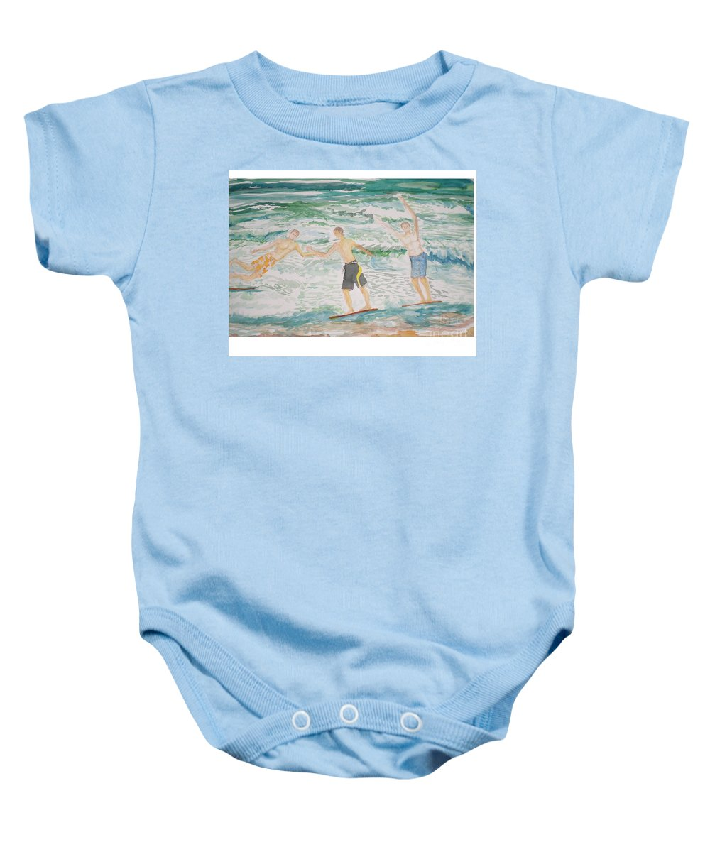 Seascape Baby Onesie featuring the painting Skim Boarding Daytona Beach by Hal Newhouser