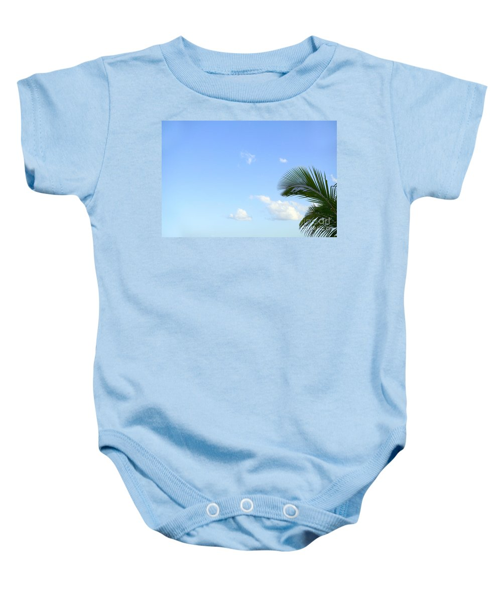 Afternoon Baby Onesie featuring the photograph Sky And Palm by Dana Edmunds - Printscapes