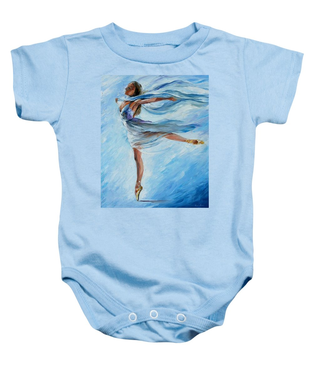 Ballet Baby Onesie featuring the painting Sky Dance by Leonid Afremov