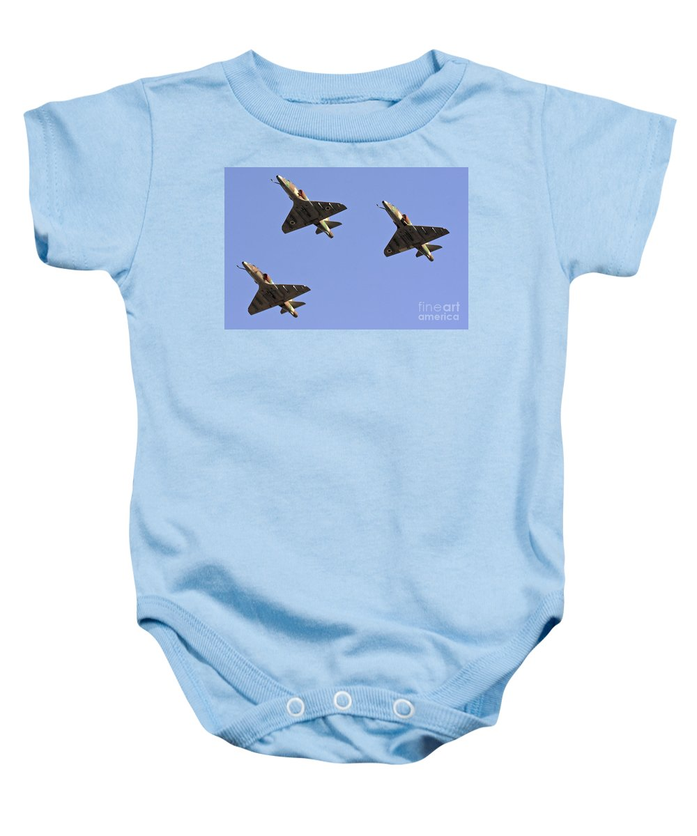 Aircraft Baby Onesie featuring the photograph Skyhawk Fighter Jet In Formation by Nir Ben-Yosef