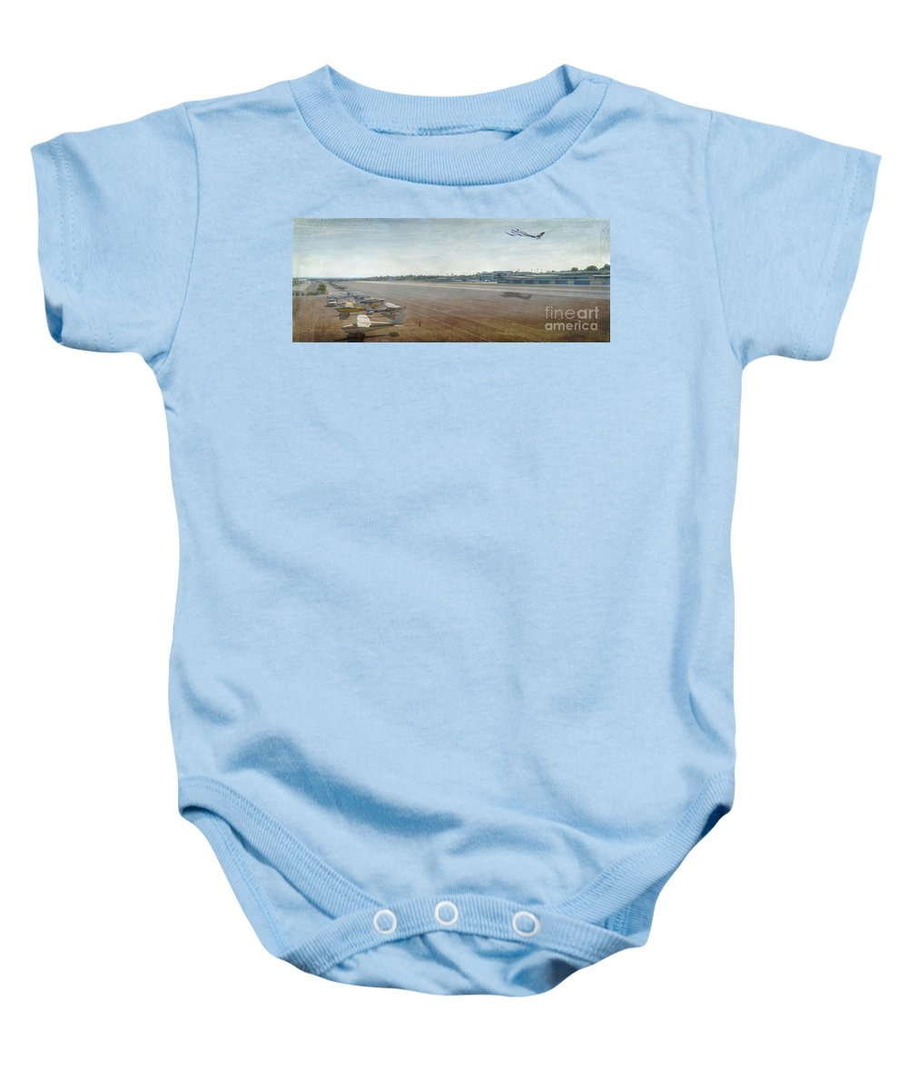City Airport Baby Onesie featuring the photograph Small City Airport Plane Taking Off Runway by David Zanzinger