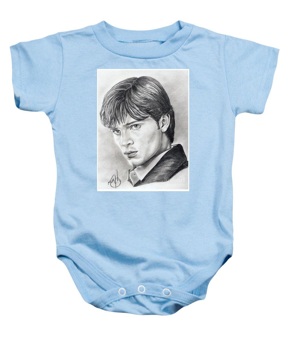 Superman Baby Onesie featuring the drawing Smallville Tom Welling by Murphy Elliott