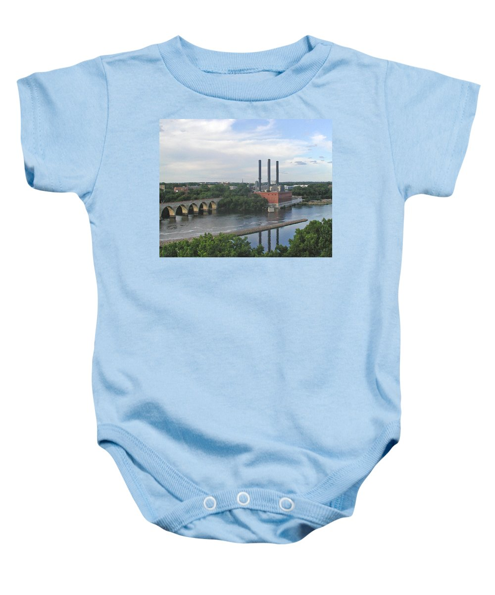 Minneapolis Baby Onesie featuring the photograph Smokestacks On The Mississippi by Tom Reynen