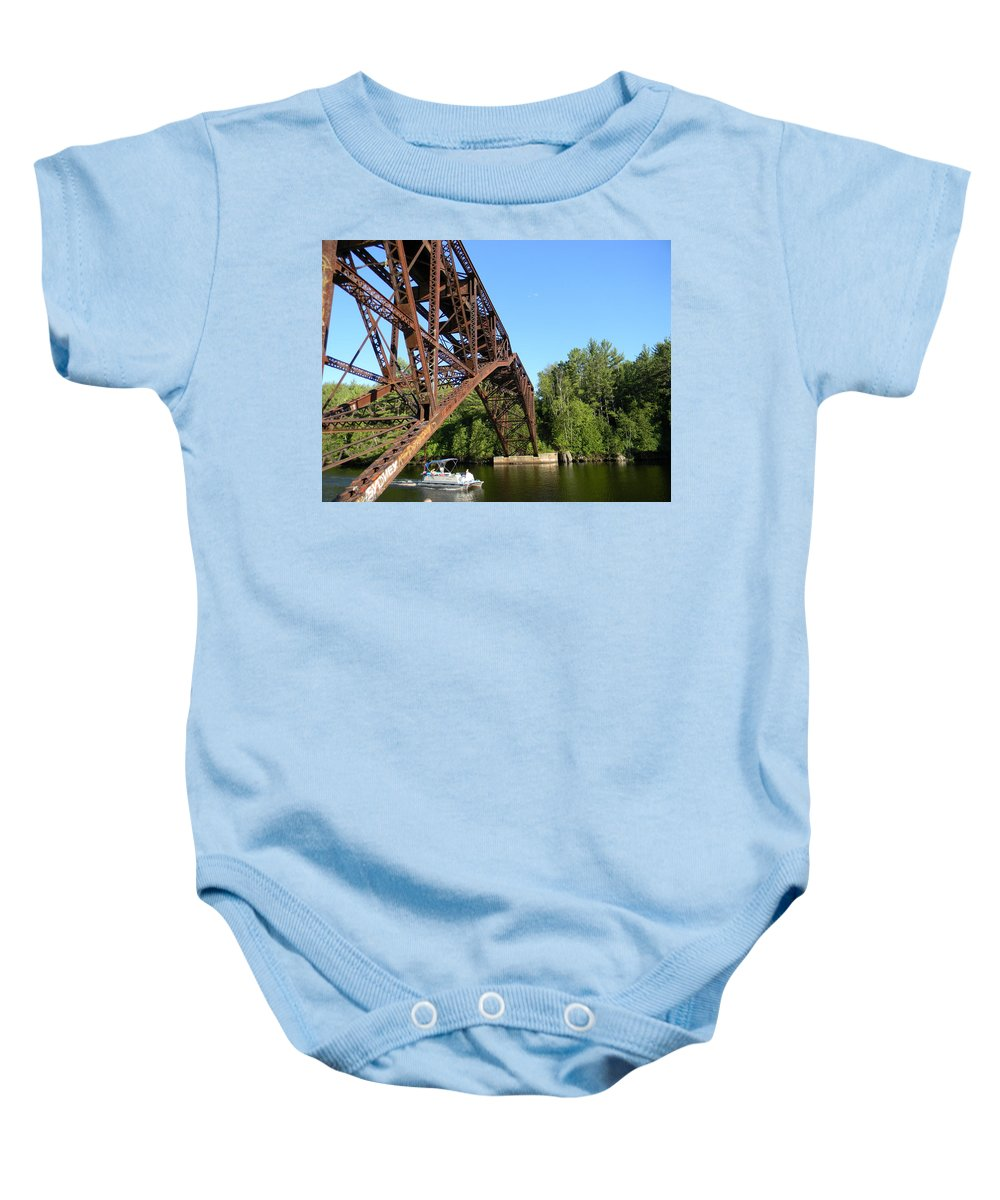 Bridge Baby Onesie featuring the photograph Smooth Ride Under The Arch by Jason Asselin