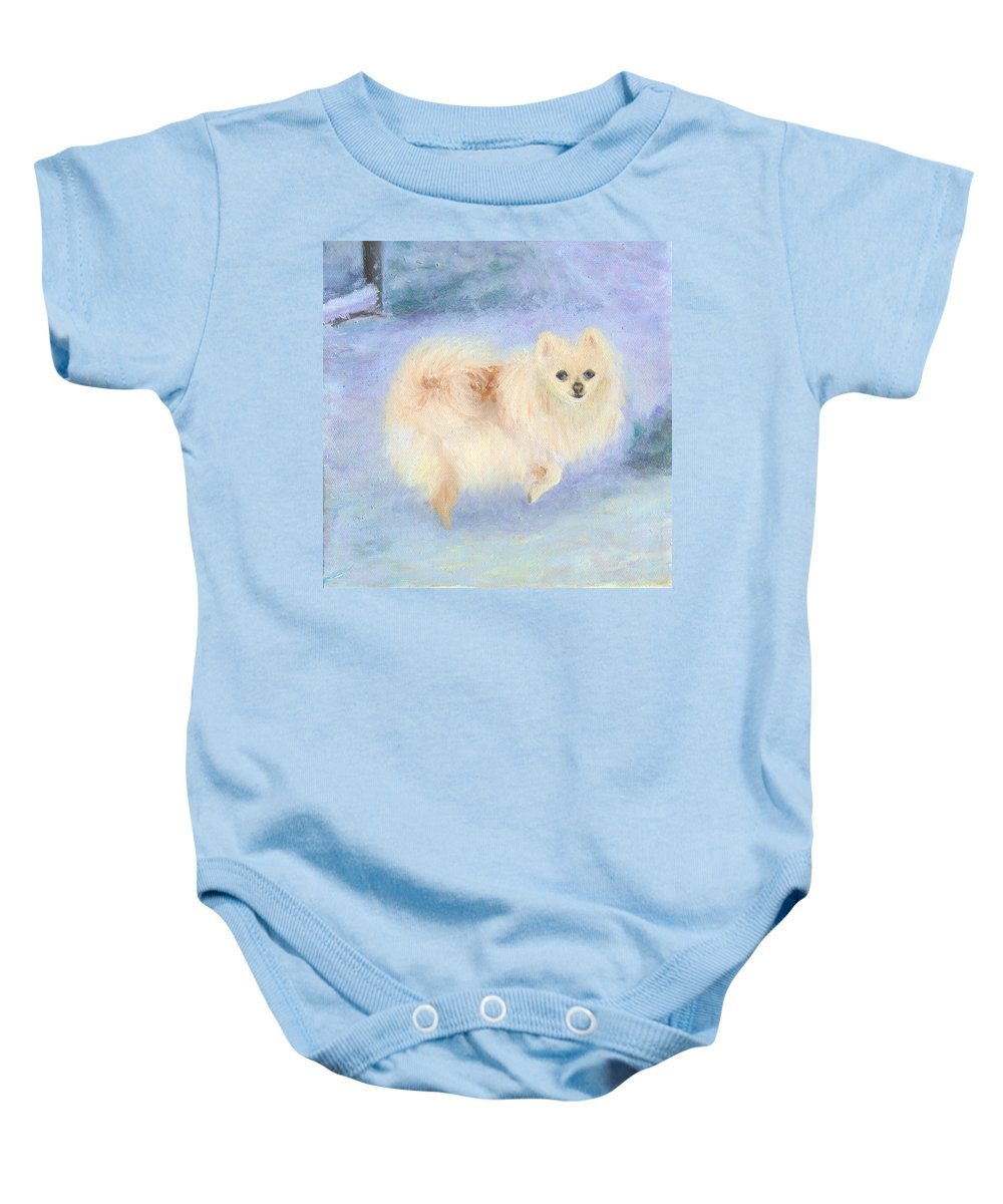 Dog Baby Onesie featuring the painting Snow Angel by Paula Emery