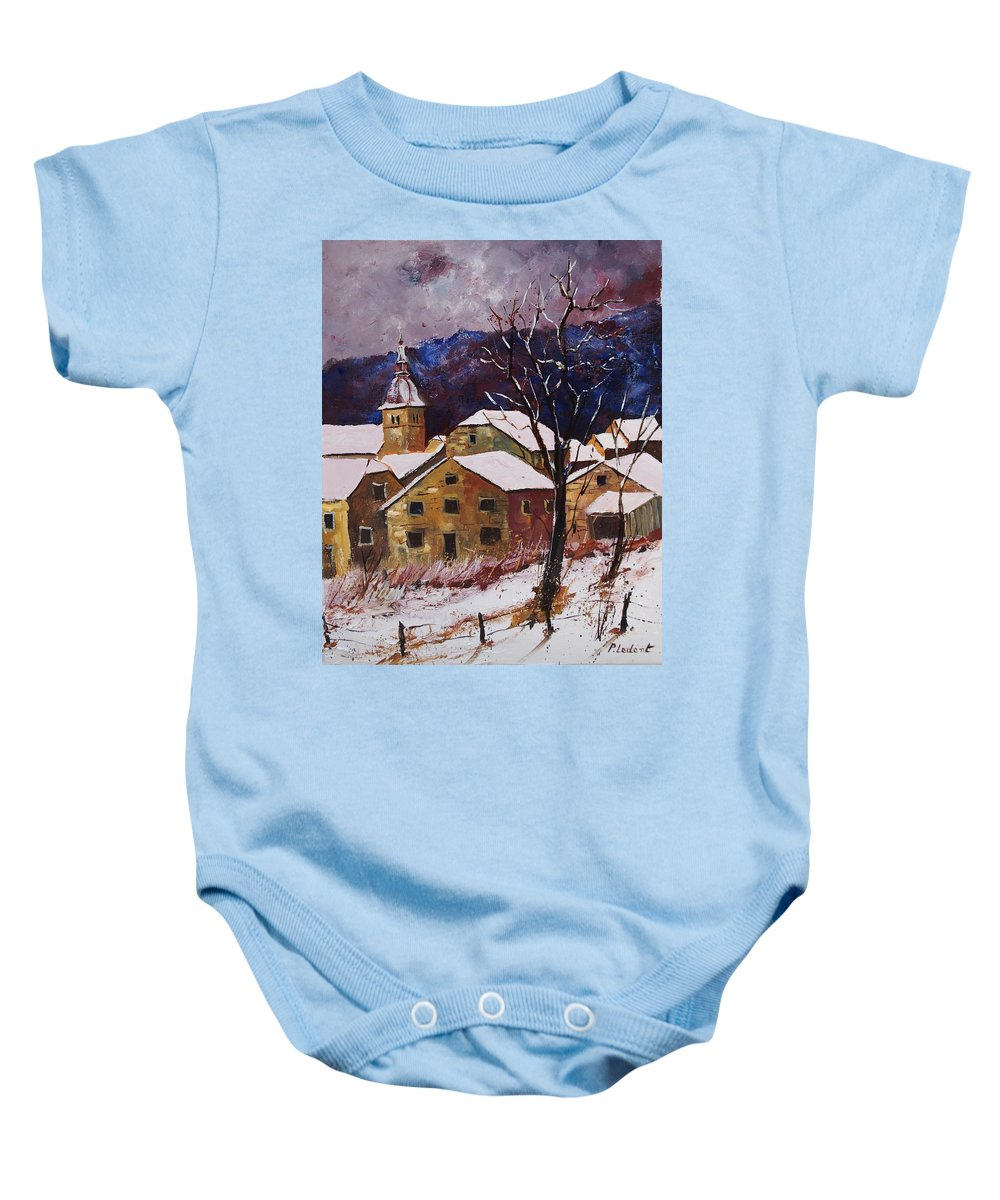 Landscape Baby Onesie featuring the painting Snow in Chassepierre by Pol Ledent