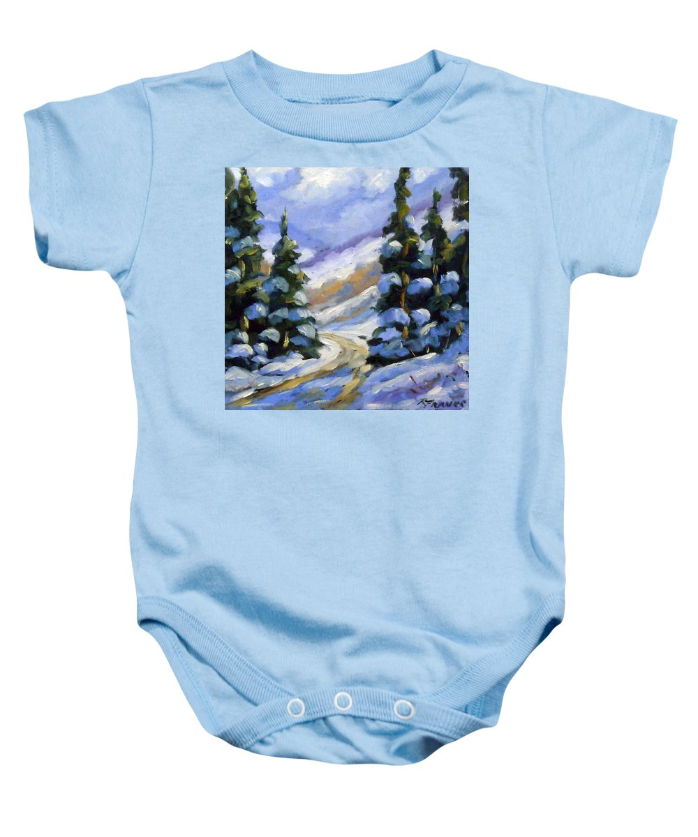 Art Baby Onesie featuring the painting Snow Laden Pines by Richard T Pranke