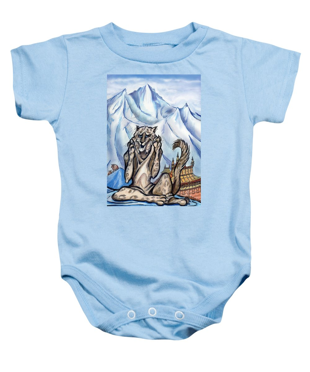 Ice Baby Onesie featuring the painting Snow Leopard by Kevin Middleton