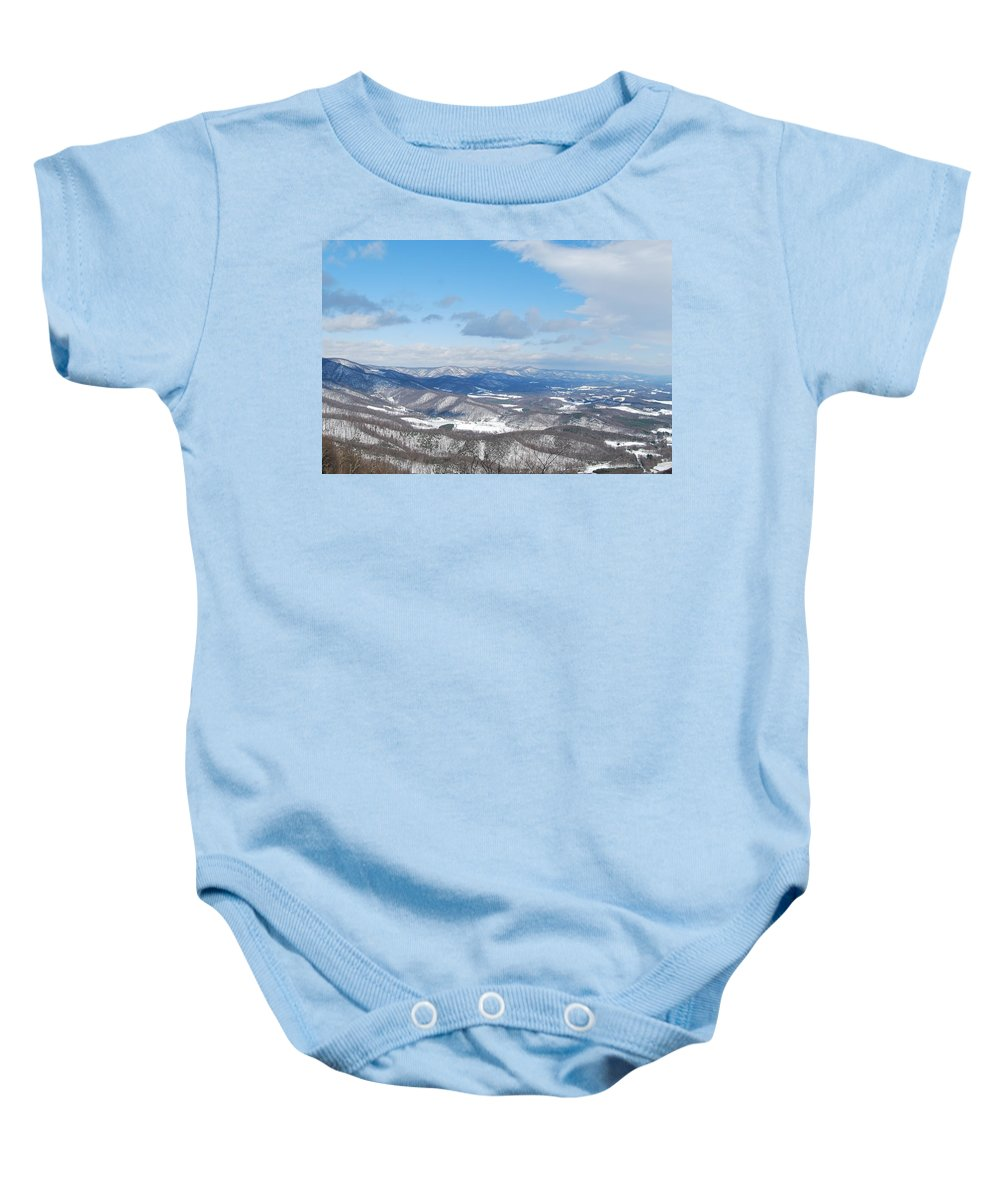Mountains Baby Onesie featuring the photograph Snow Overlook by Eric Liller