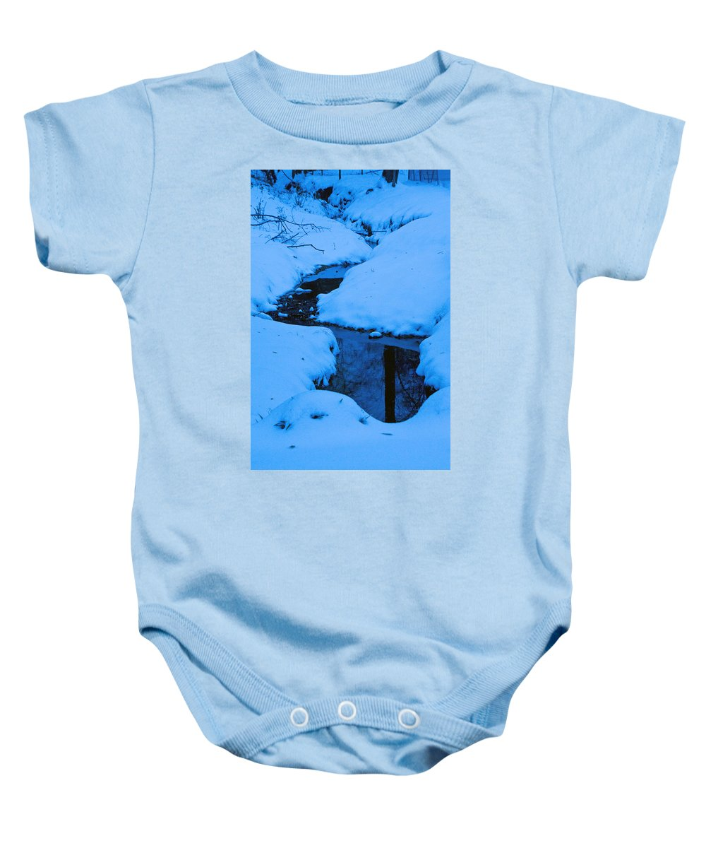 Snow Baby Onesie featuring the photograph Snow Stream by David Campbell