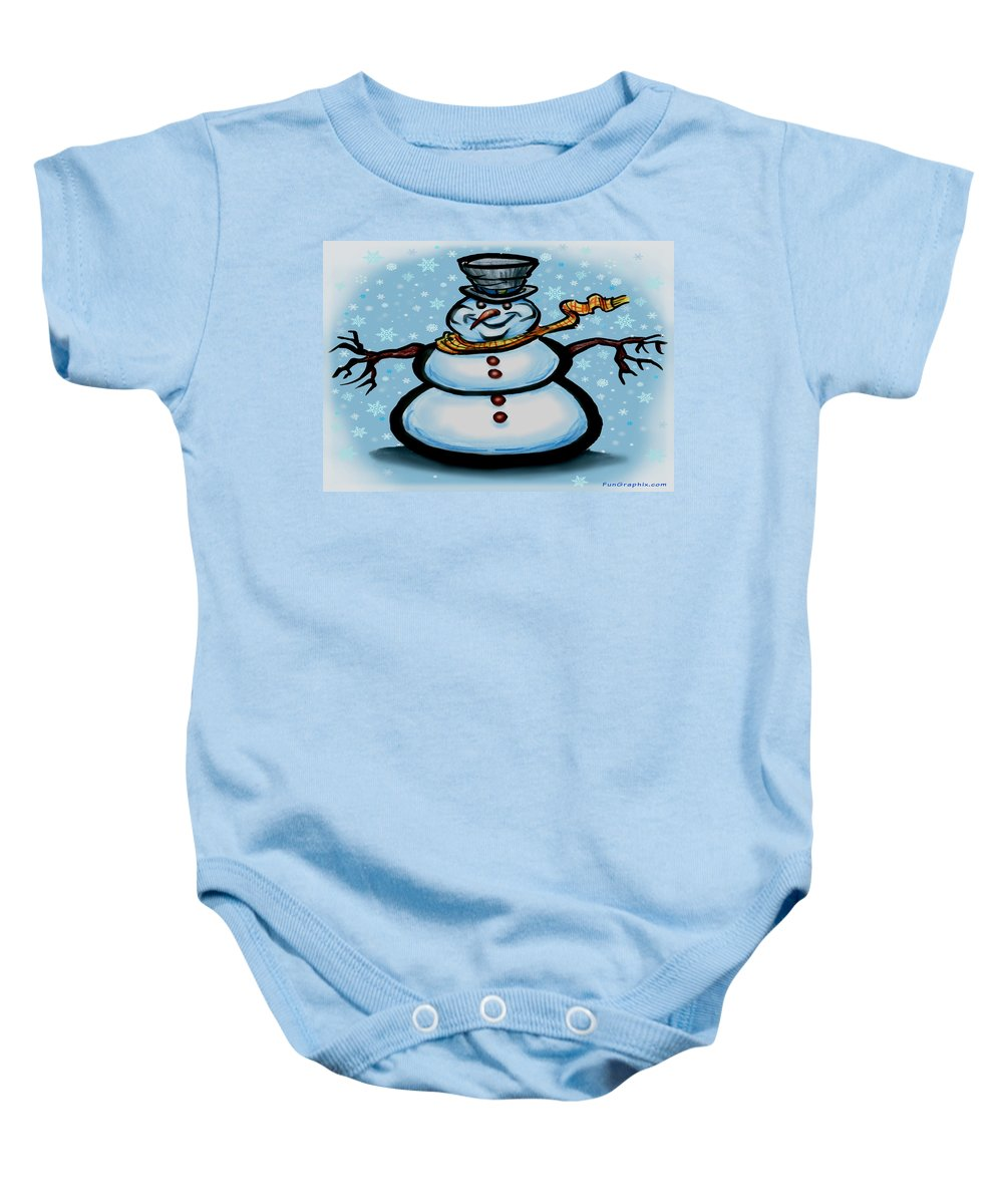 Snowman Baby Onesie featuring the greeting card Snowman by Kevin Middleton