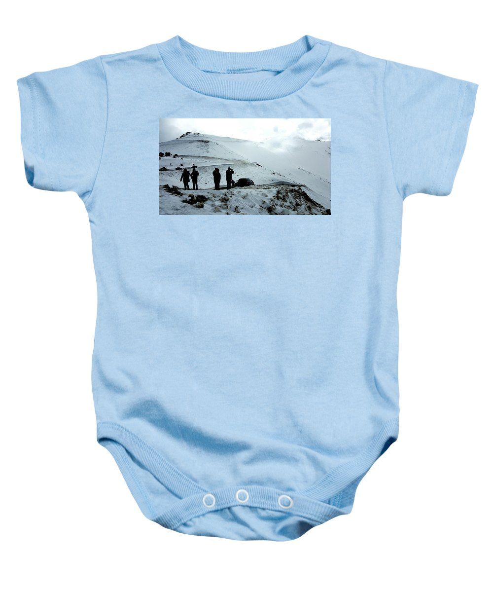 Pikes Peak Baby Onesie featuring the photograph Snowy Switchbacks On Pikes Peak by William Slider