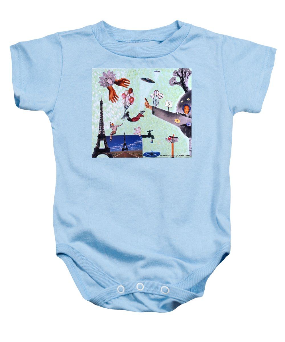 Eiffel Tower Baby Onesie featuring the drawing Soap Scene #27 Zelestial Headquarters by Minaz Jantz