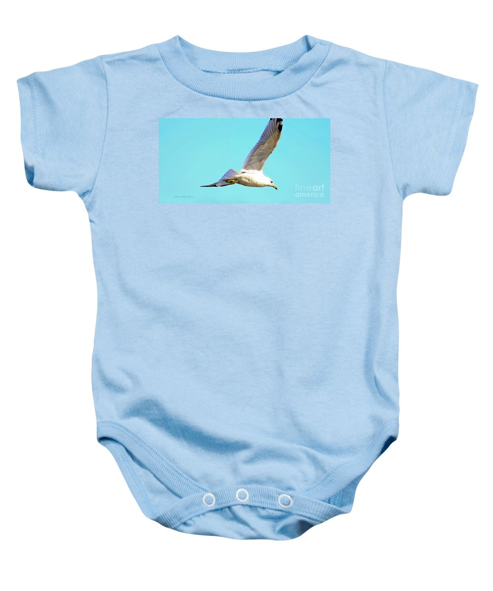 Bird Baby Onesie featuring the photograph Soaring In A Blue Sky by Deborah Benoit
