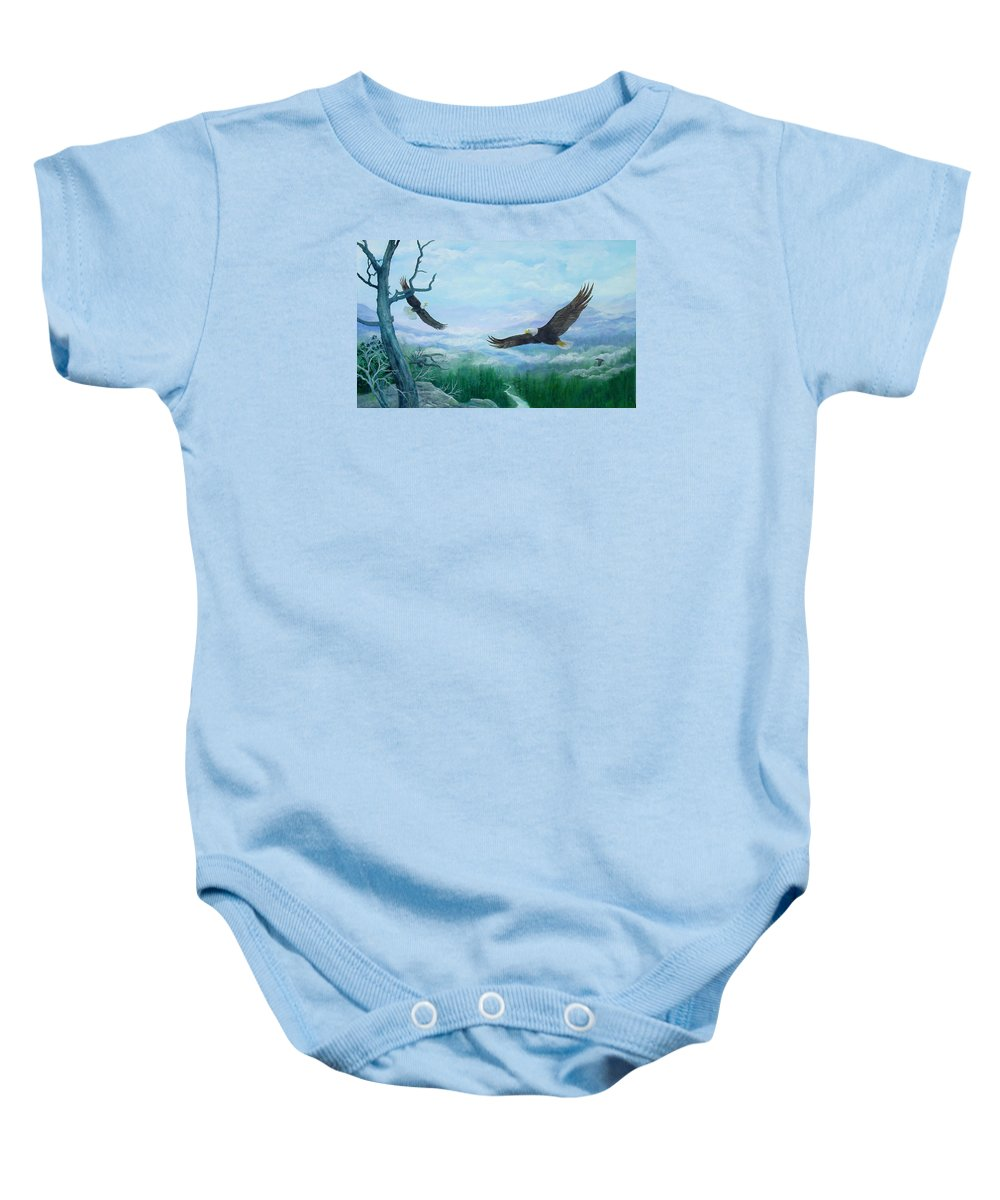 Eagles;birds;river Valley;mountains;sky; Baby Onesie featuring the painting Soaring by Lois Mountz