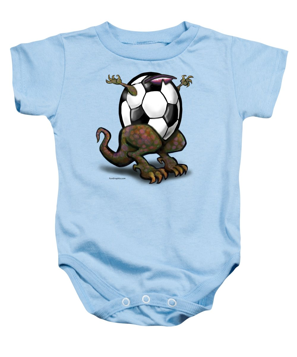 Soccer Baby Onesie featuring the digital art Soccer Saurus Rex by Kevin Middleton