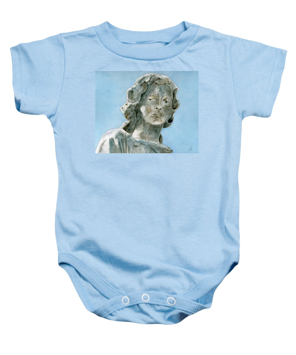 Portrait Watercolor Cemetery Statue Sky Woman Baby Onesie featuring the painting Solitude. A Cemetery Statue by Brenda Owen