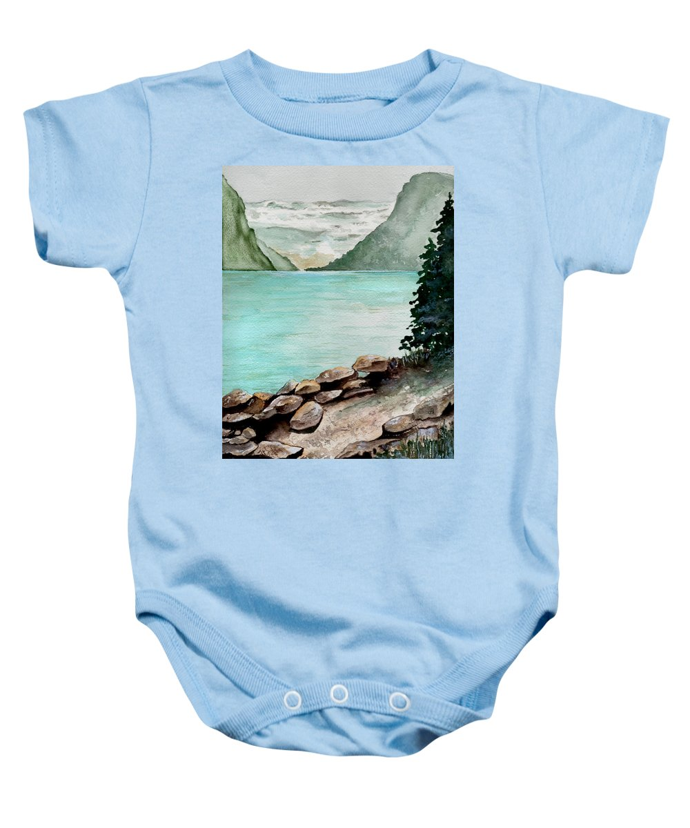 Watercolor Baby Onesie featuring the painting Solitude Of The Lake by Brenda Owen