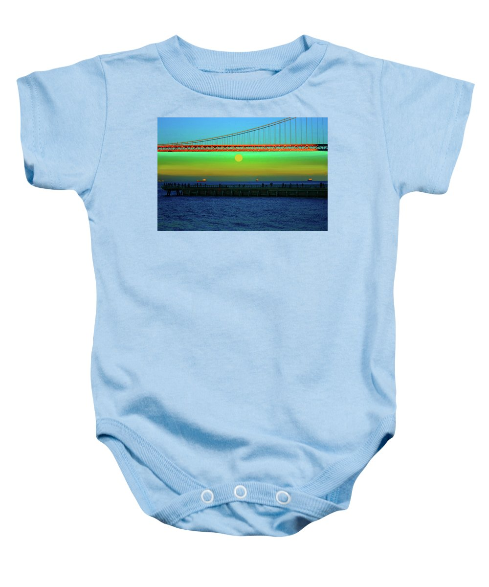 Bay Bridge Baby Onesie featuring the photograph Solstice Bay by Stephen Edwards