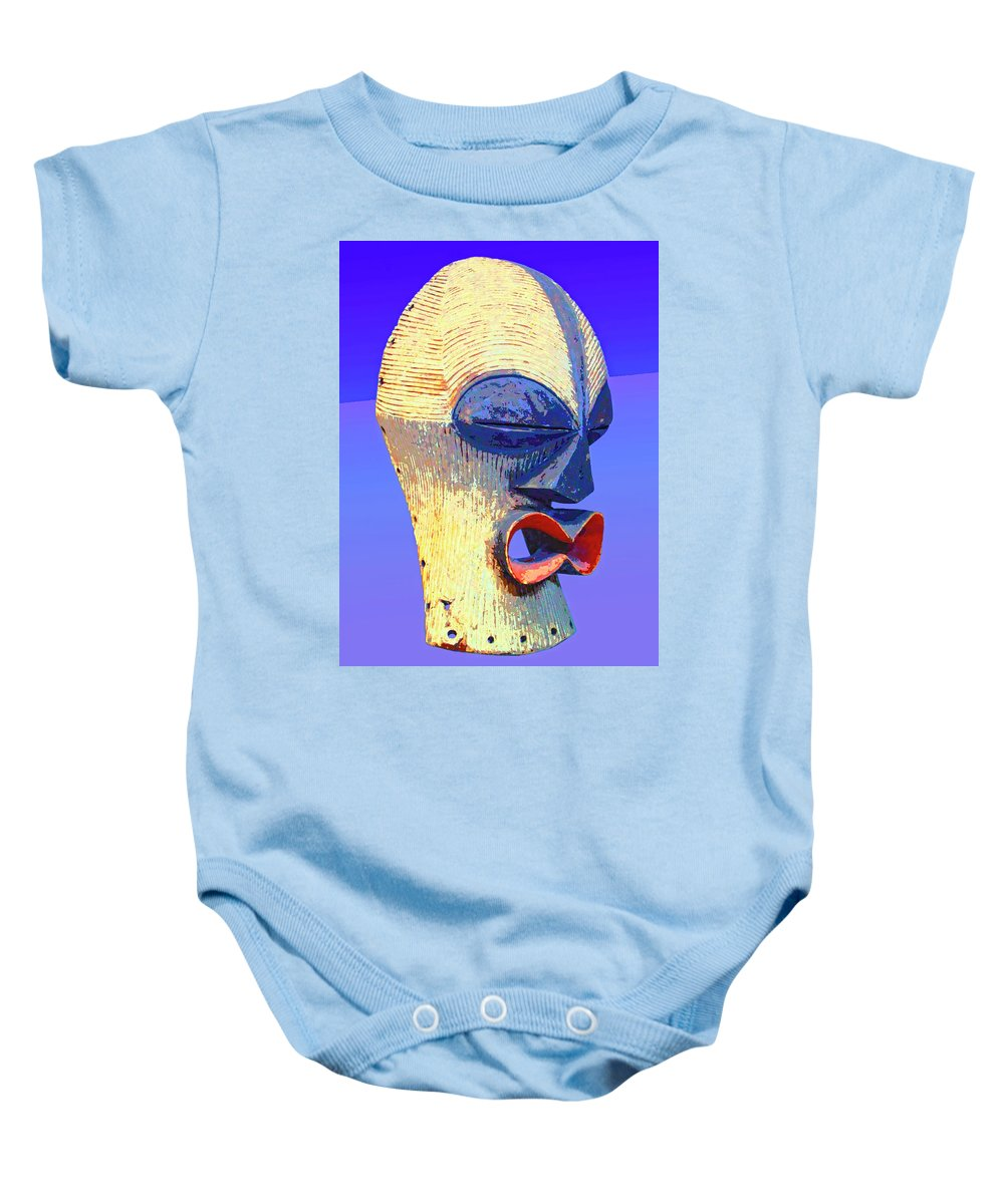 Africa Baby Onesie featuring the mixed media Songye Kifwebe Mask by Dominic Piperata