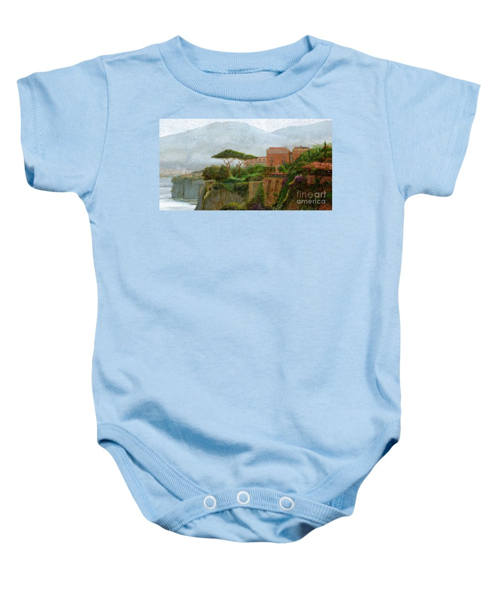 Amalfi Coast; Coastal; Landscape; Italian; Italy; Mountain; Mountains; Tree; Trees; Sorrento; Albergo Baby Onesie featuring the painting Sorrento Albergo by Trevor Neal