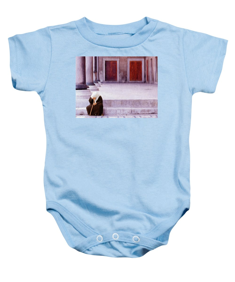 Sorrow Baby Onesie featuring the painting Sorrow by Dominic Piperata