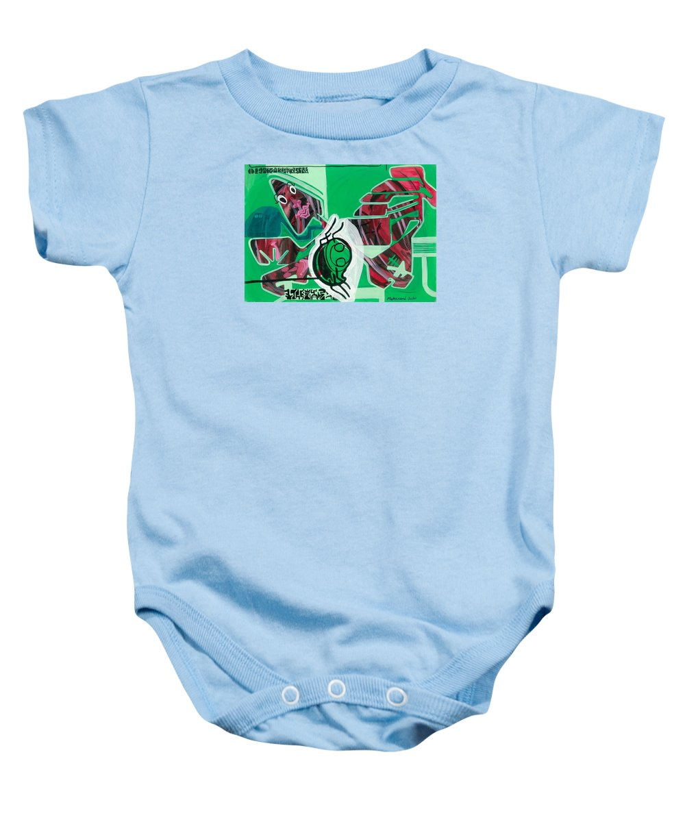 Baby Onesie featuring the painting Spider And Human Faces by Makarand Joshi
