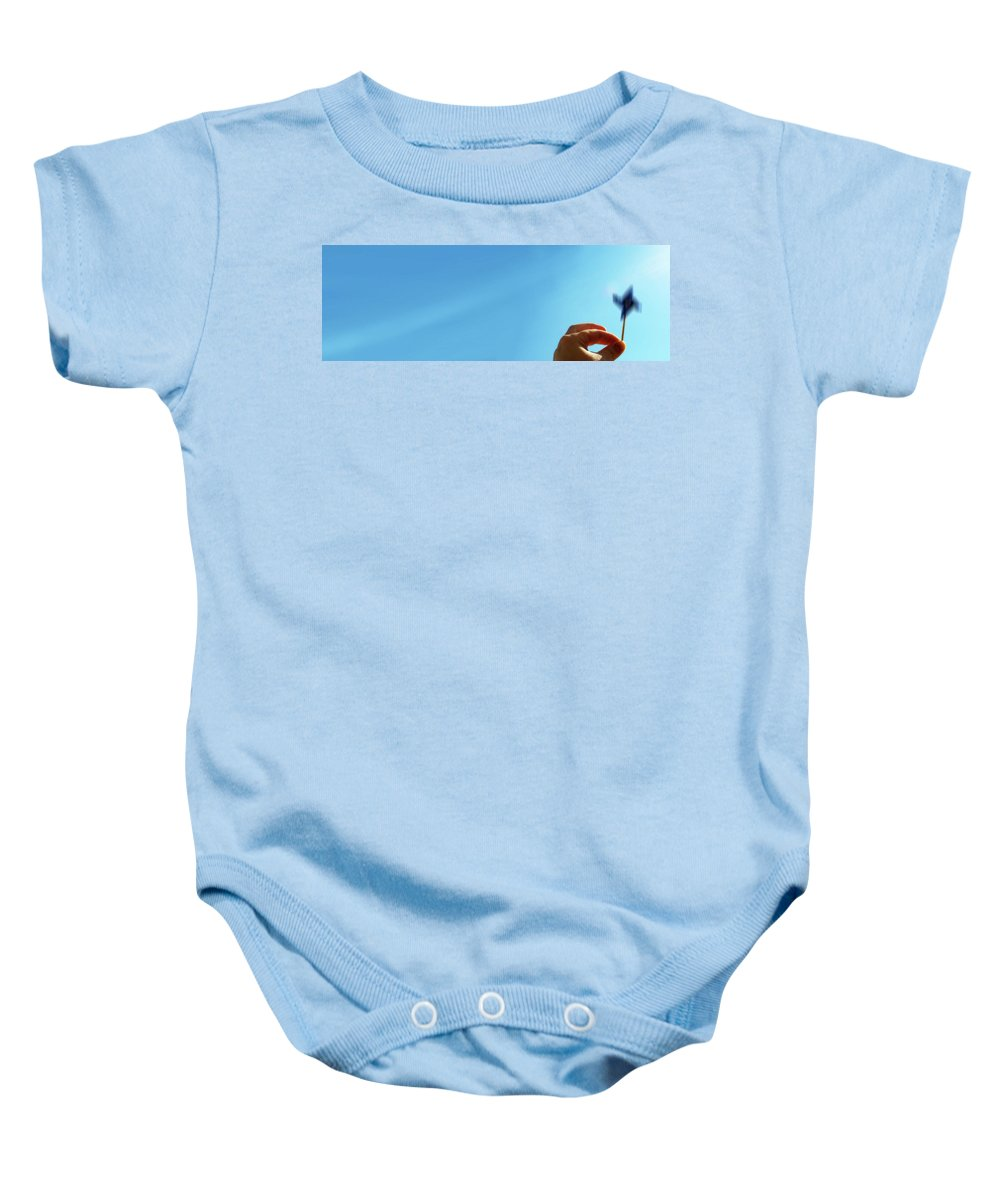 Lisa Knechtel Baby Onesie featuring the photograph Spinning In The Sunshine by Lisa Knechtel