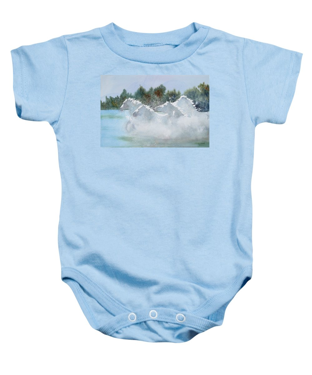 Horse Baby Onesie featuring the painting Splash 1 by Ally Benbrook