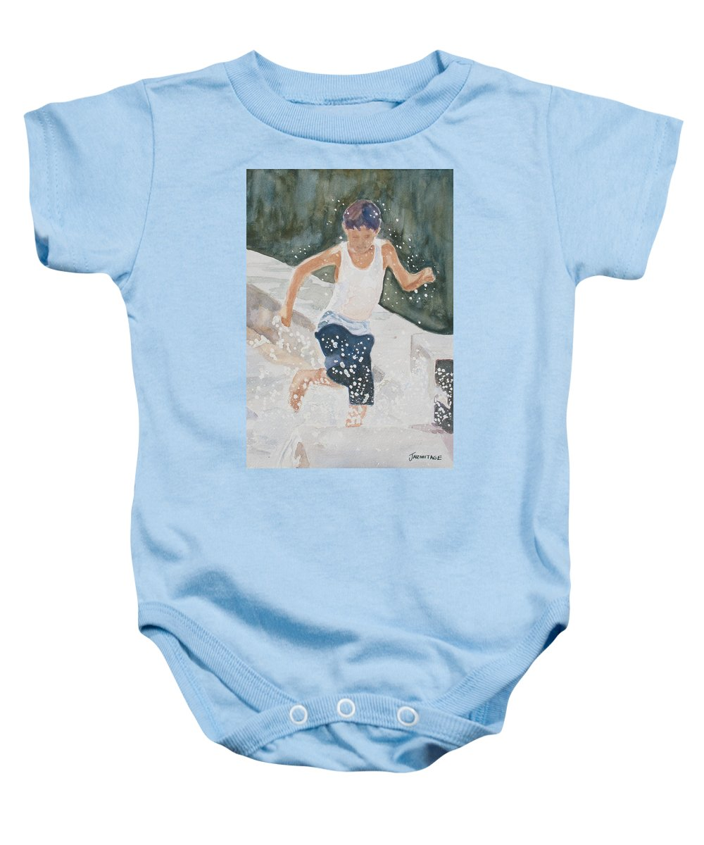 Boy Baby Onesie featuring the painting Splash Dance by Jenny Armitage