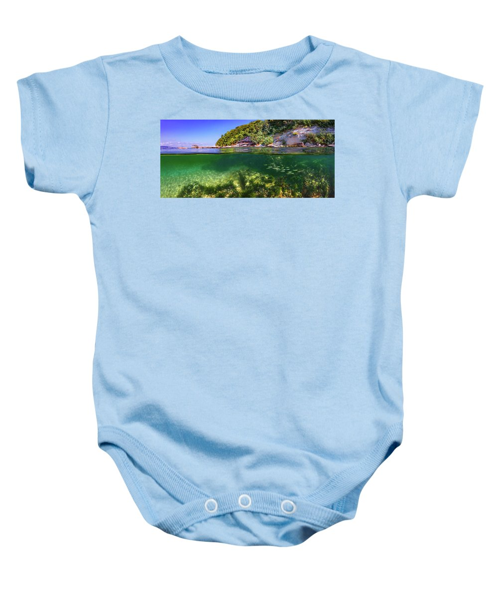 Beautiful Baby Onesie featuring the photograph Split Level Reef And Trees With Pier by Todor Dimitrov