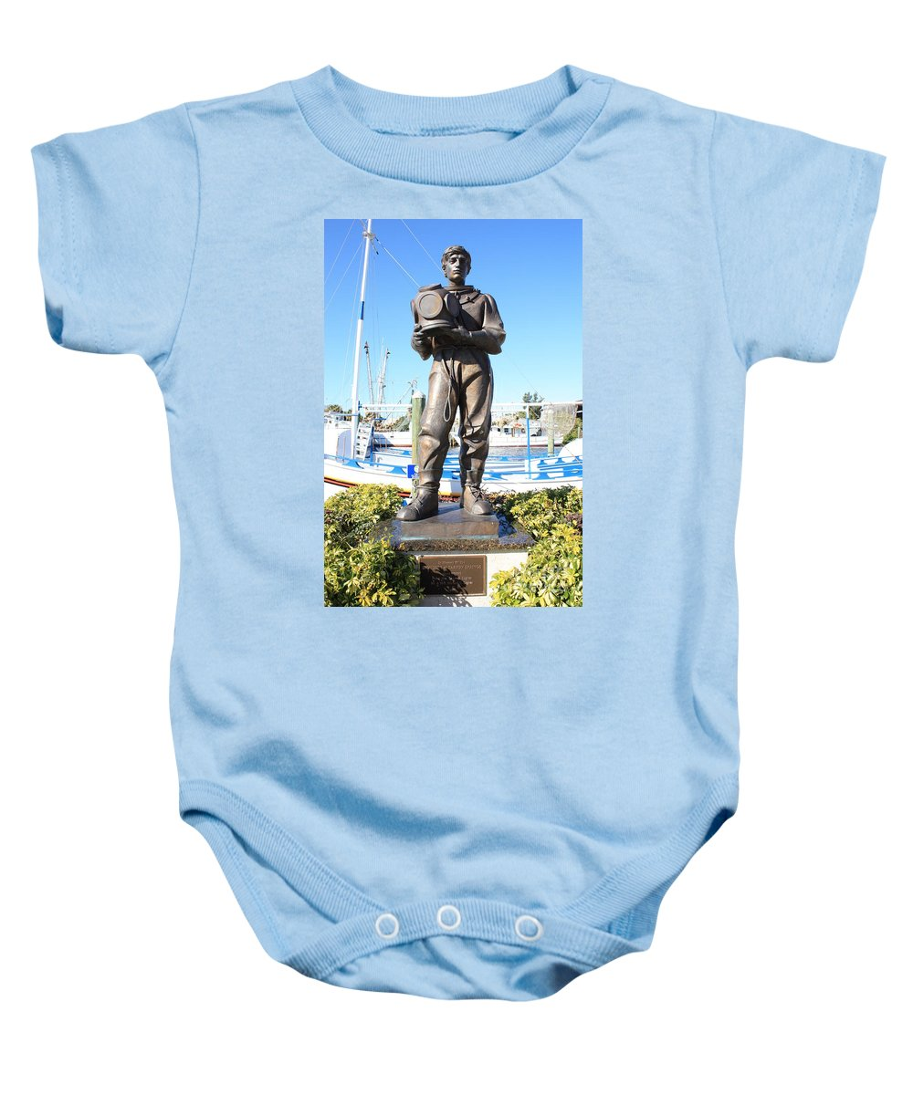 Tarpon Springs Baby Onesie featuring the photograph Sponge Diver Memorial by Carol Groenen