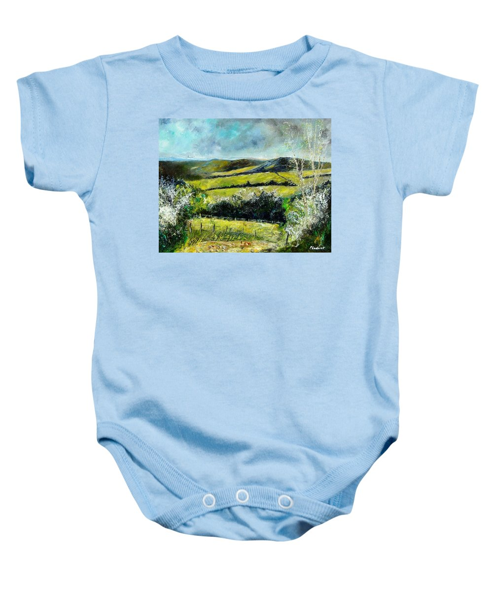 Landscape Baby Onesie featuring the print Spring 79 by Pol Ledent