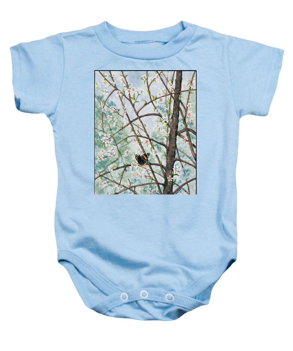 Butterfly Baby Onesie featuring the painting Spring Blossom by Mary Tuomi