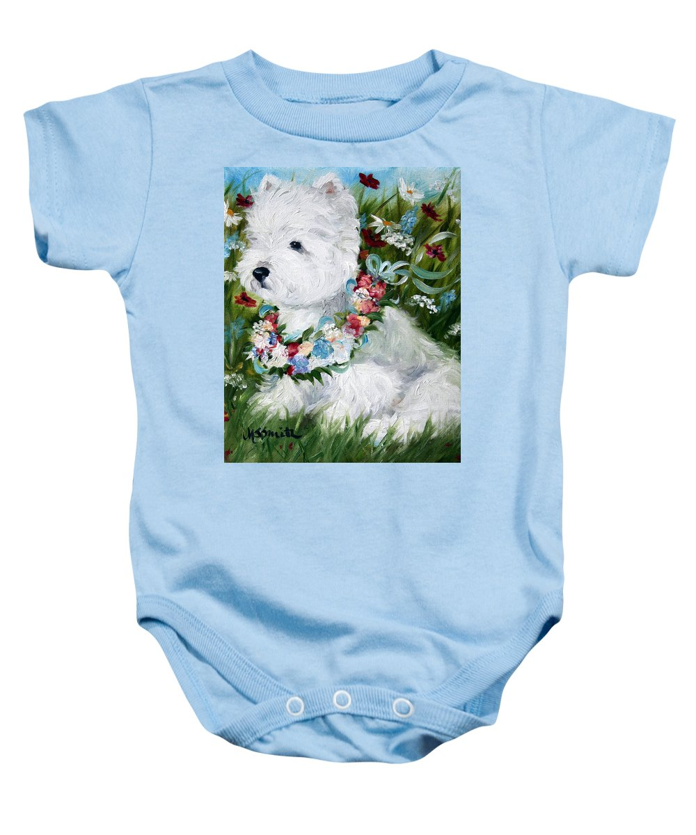 Art Baby Onesie featuring the painting Spring Breezes by Mary Sparrow