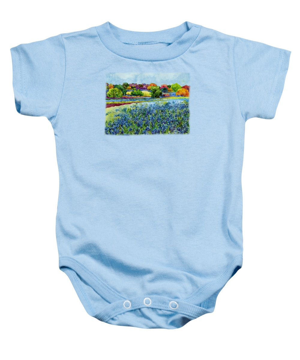 Bluebonnet Baby Onesie featuring the painting Spring Impressions by Hailey E Herrera