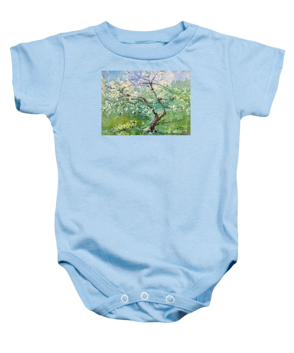 Plum Tree Baby Onesie featuring the painting Spring Plum by Elizabeth Carr