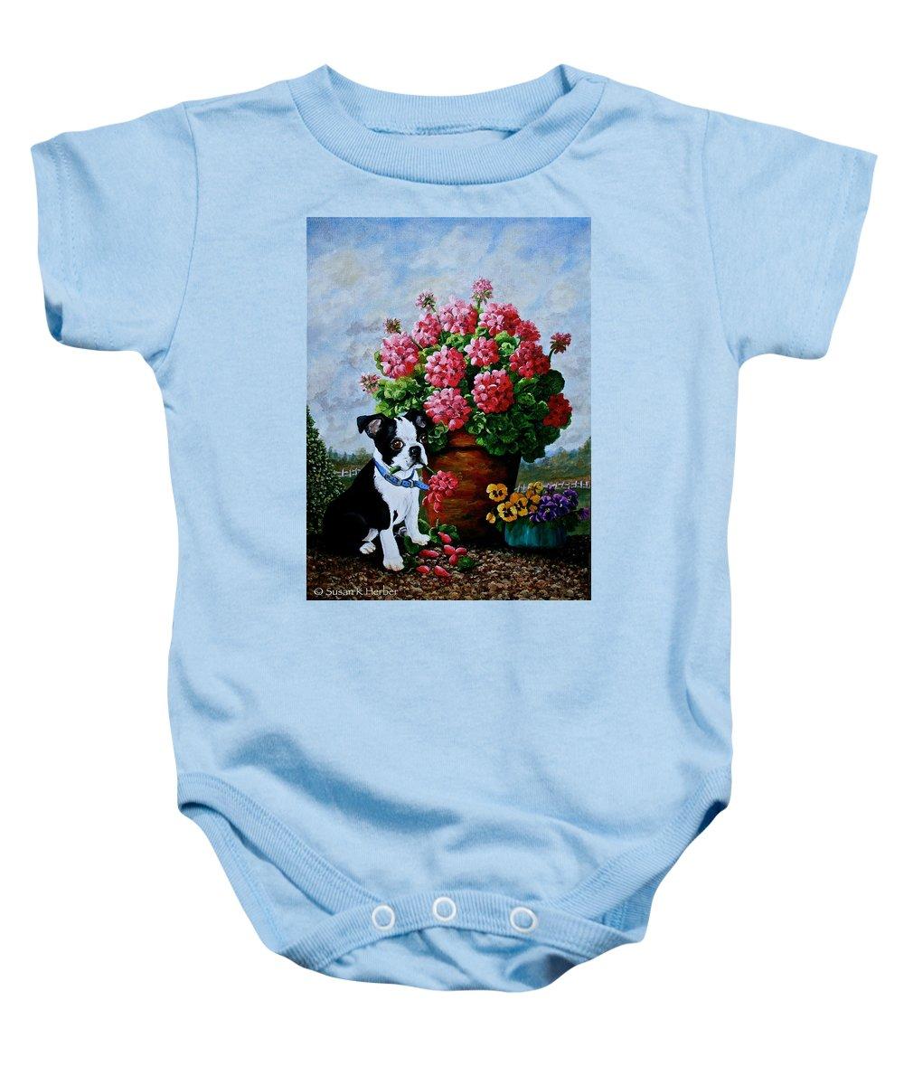 Geraniums Baby Onesie featuring the painting Srb Jonas by Susan Herber