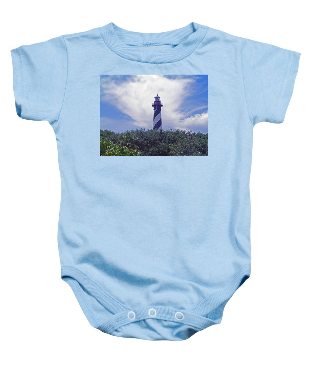 Lighthouse; Light; House; Keeper; St. Augustine; Florida; Coast; Shine; Fog; Storms; U.s.; Coast Gua Baby Onesie featuring the photograph St Augustine Light On The Atlantic Coast Of Florida by Allan Hughes