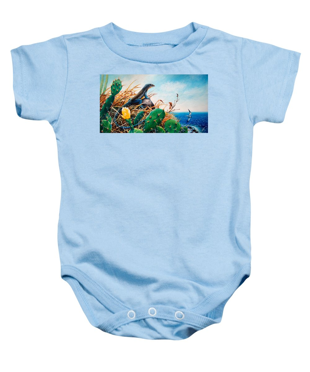Chris Cox Baby Onesie featuring the painting St. Lucia Whiptail by Christopher Cox