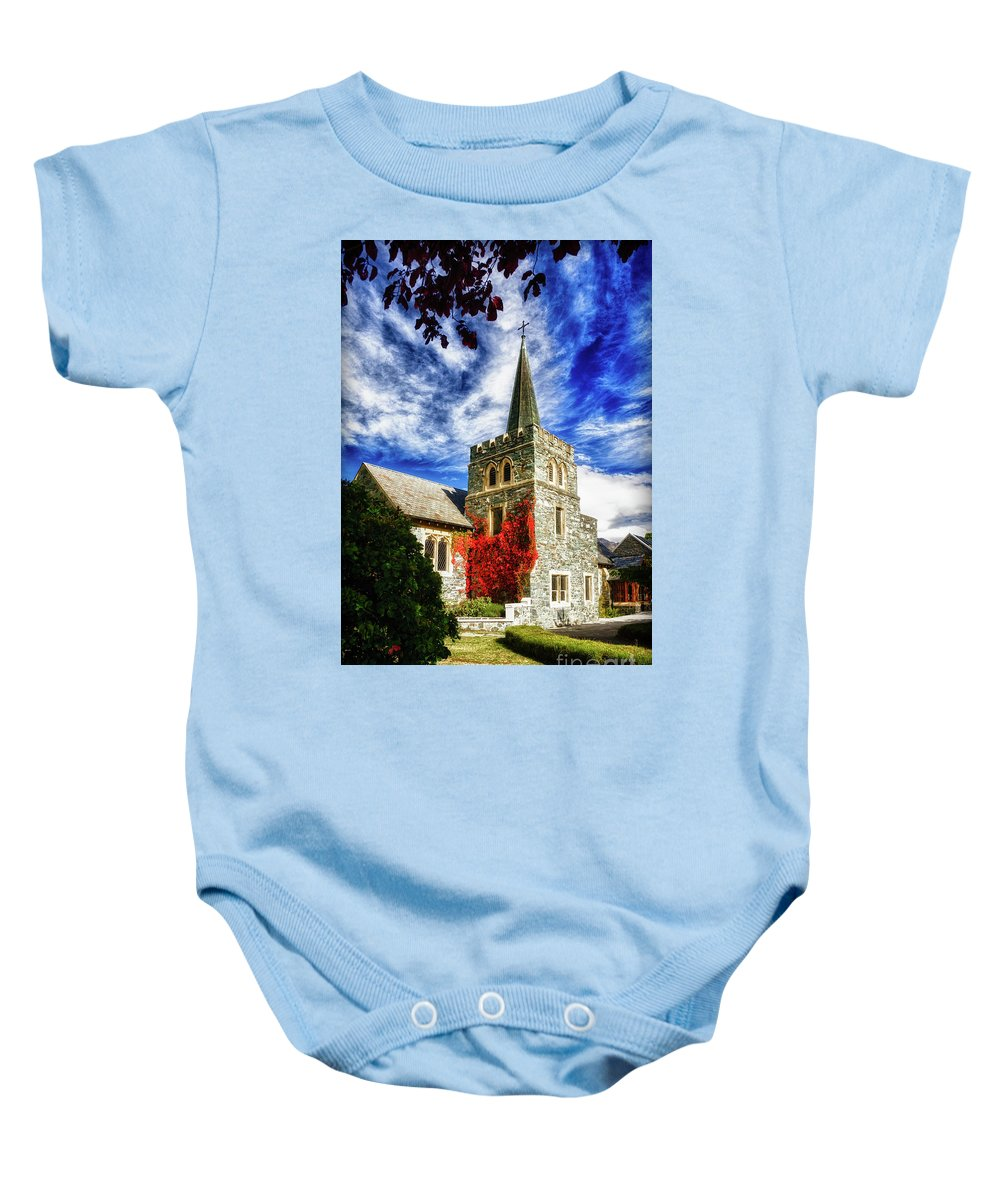 Queenstown Baby Onesie featuring the photograph St. Peter's Church by Doug Sturgess