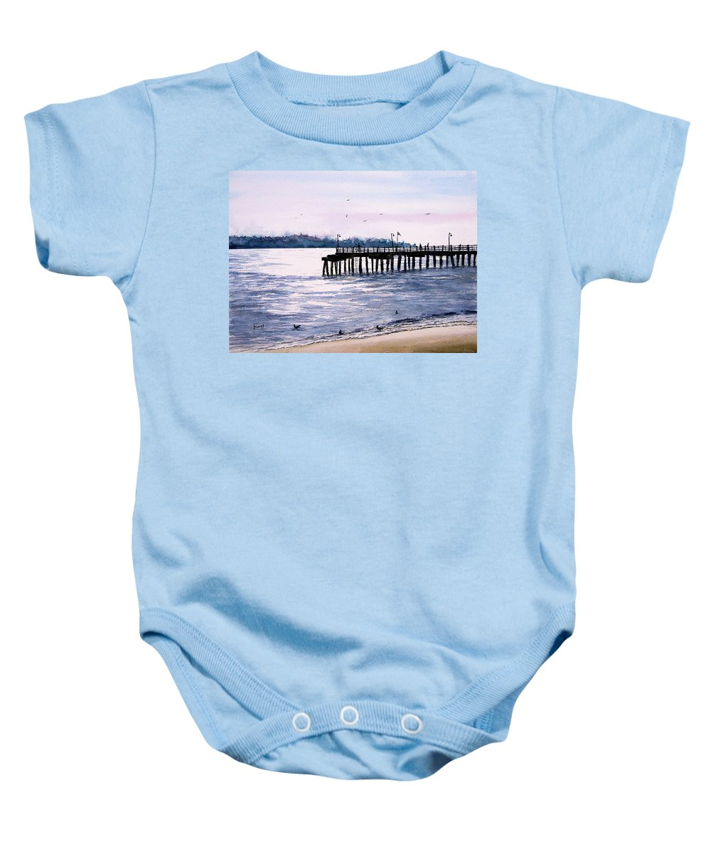 Fishing Baby Onesie featuring the painting St. Simons Island Fishing Pier by Sam Sidders