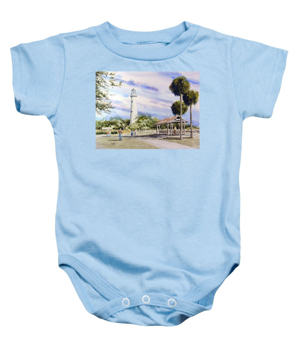 Lighthouse Baby Onesie featuring the painting St. Simons Island Lighthouse by Sam Sidders