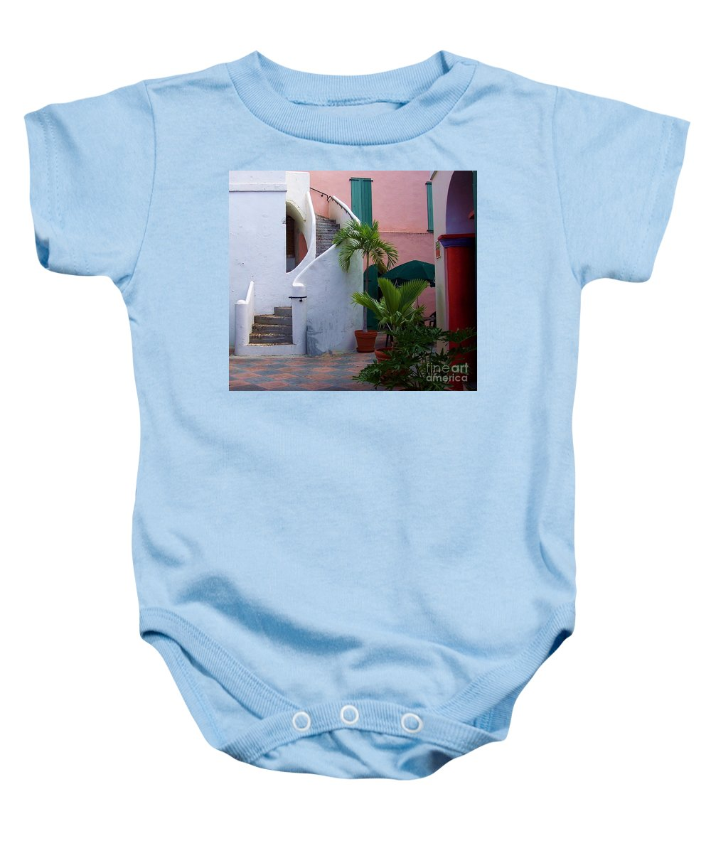 Architecture Baby Onesie featuring the photograph St. Thomas Courtyard by Debbi Granruth