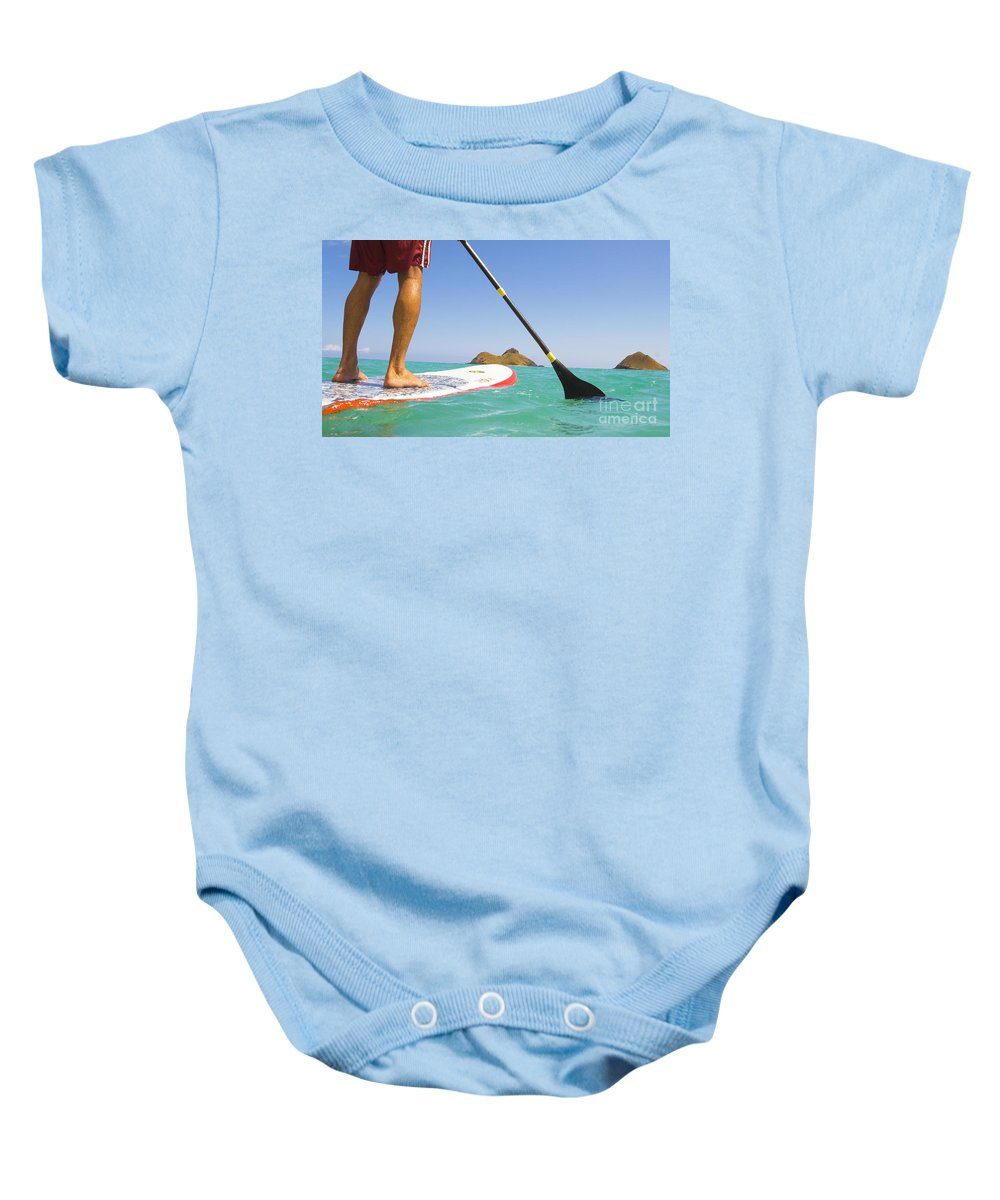 Adrenaline Baby Onesie featuring the photograph Stand Up Paddling by Dana Edmunds - Printscapes