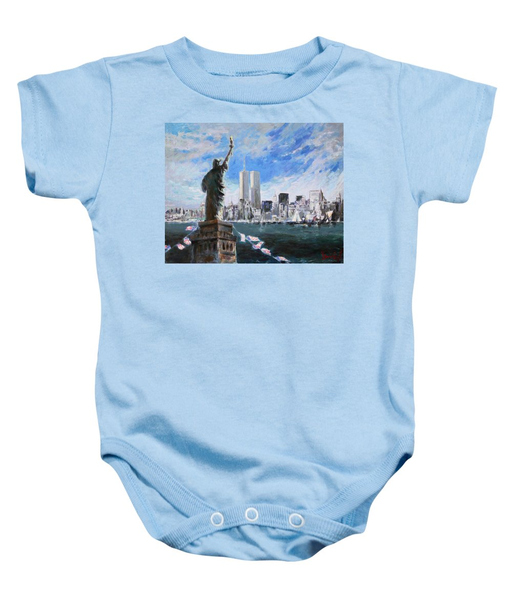 Landscape Baby Onesie featuring the painting Statue Of Liberty And Tween Towers by Ylli Haruni
