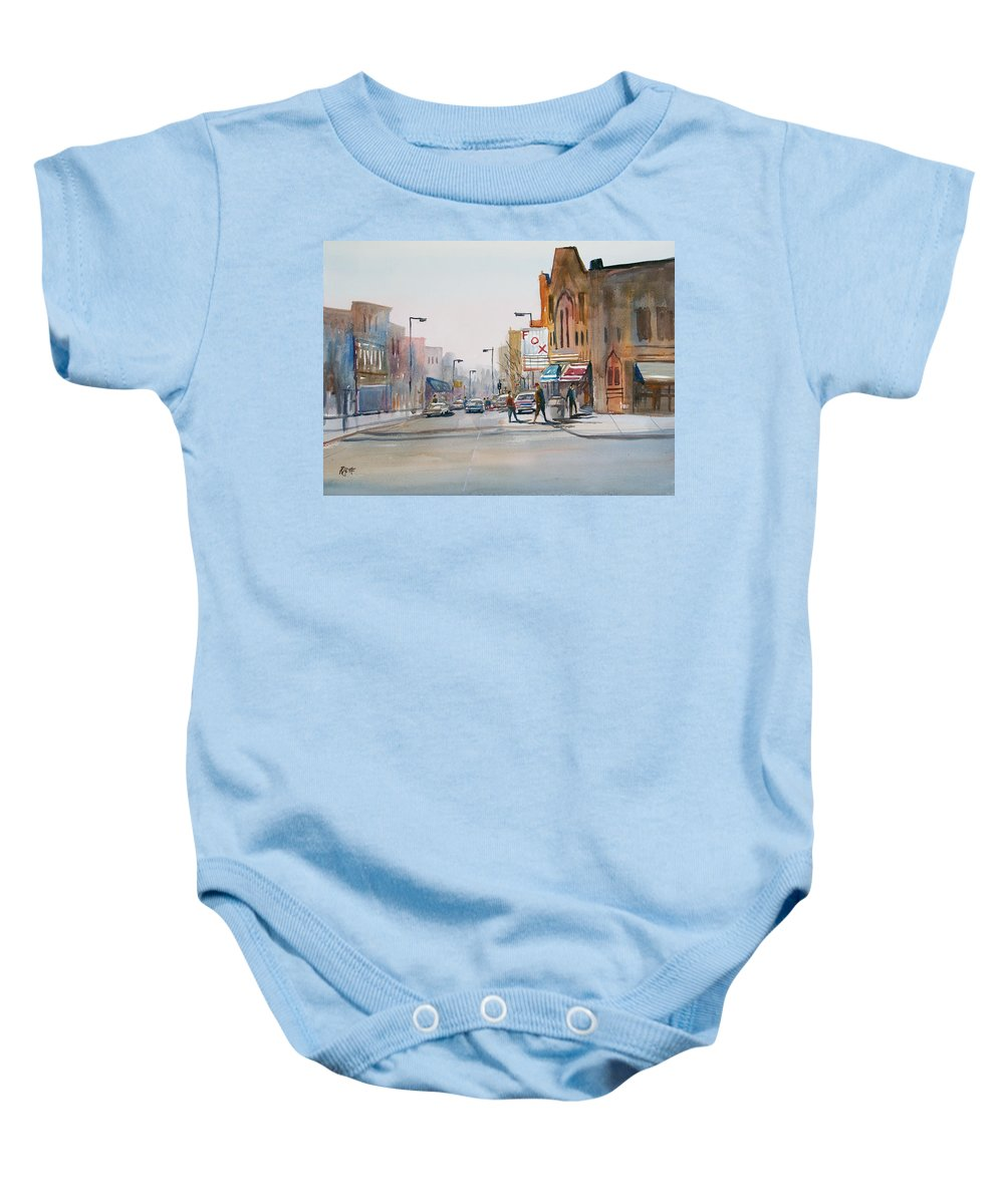 Watercolor Baby Onesie featuring the painting Steven's Point - Downtown by Ryan Radke