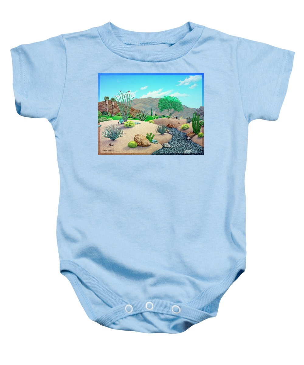Landscape Baby Onesie featuring the painting Steve's Yard by Snake Jagger