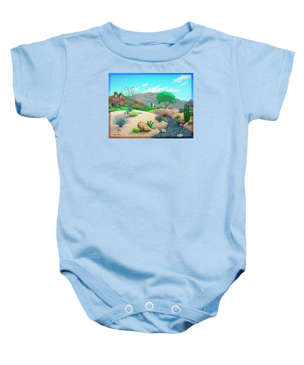 Desert Baby Onesie featuring the painting Steves Yard by Snake Jagger