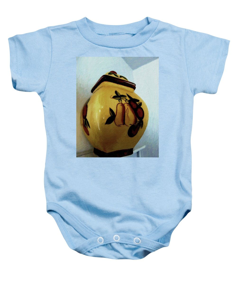 Jar Baby Onesie featuring the painting Still Life With Fruited Pottery by RC deWinter